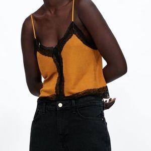 Zara lingerie-style lace top in mustard